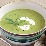 Purée of Green Pea Soup With Mint Cream