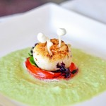 Seared Scallops in Exotic Marinade with Edamame Puree