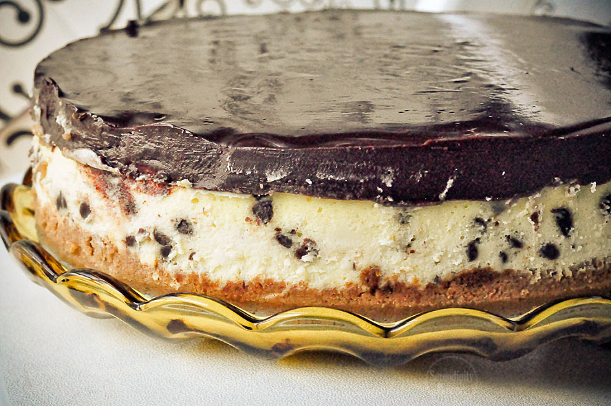 Chocolate Chip Cheesecake with Chocolate Ganache Topping