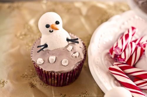 Snowman Hot Cocoa Cupcake