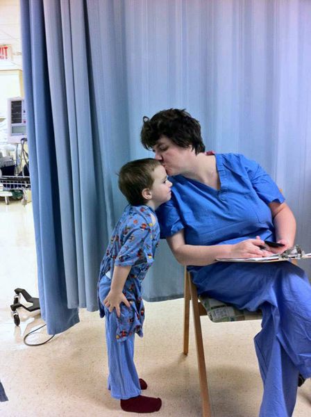 A Kiss For Mommy, just as I was signing consent for anesthesia. His happiness left soon after this