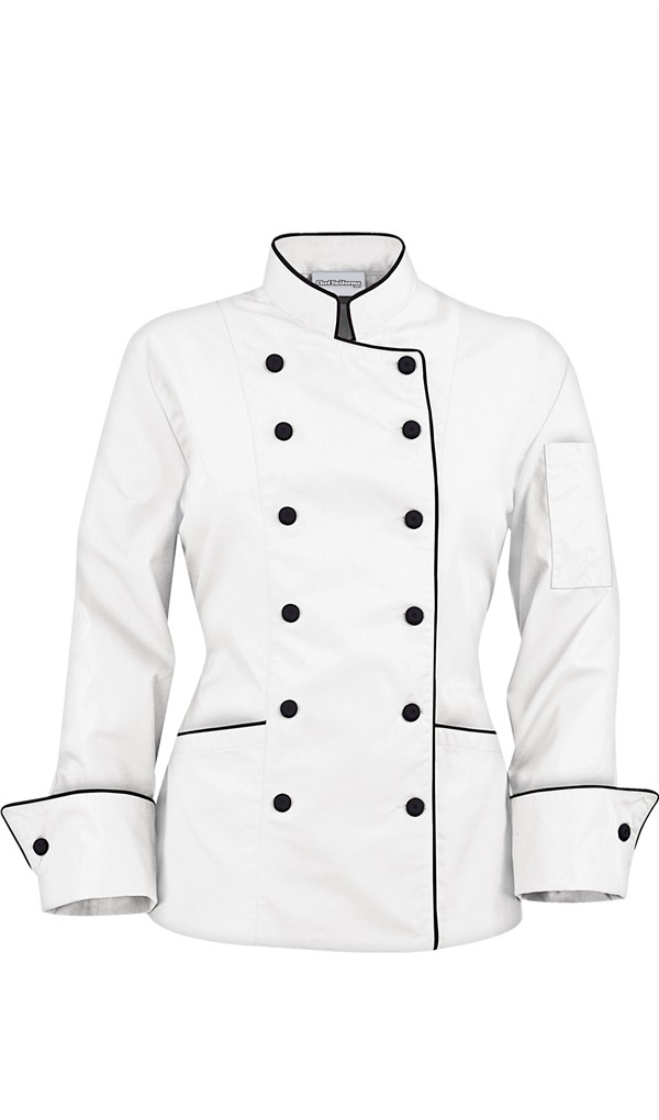 I chose the Women's Traditional Chef Coat with Contrast Piping and Fabric Covered Buttons in black and white. I could have chosen any color but I decided