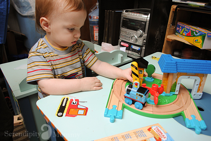 aiden playing with thomas
