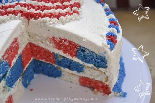 Patriotic Checkerboard Cake Take 2