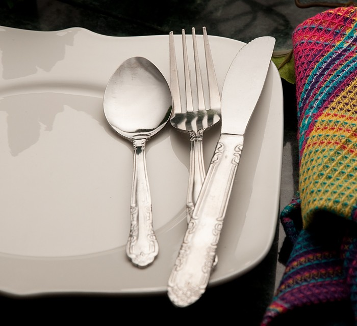 Place Setting, reflective metal, Strobe flash